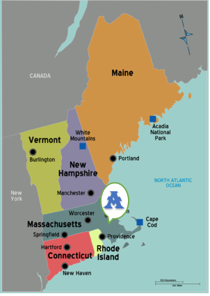 Map of New England. Reptek at 1 location in Sharon MA